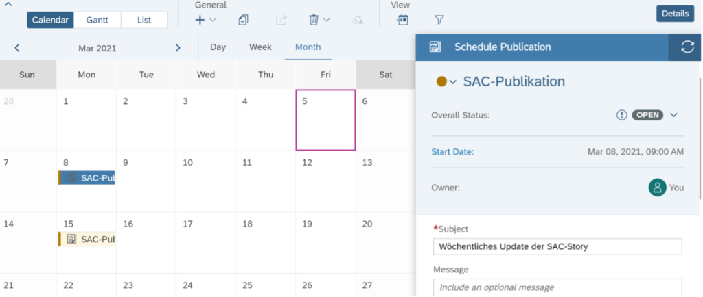 Scheduling, Die Scheduling-Funktionalität der SAP Analytics Cloud