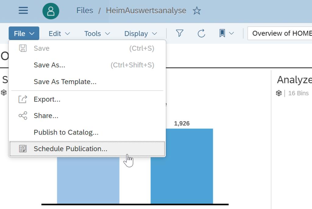Scheduling, Die Scheduling-Funktionalität der SAP Analytics Cloud